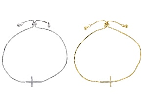White Cubic Zirconia Rhodium And 18K Yellow Gold Over Silver Adjustable Cross Bracelet Set of 2