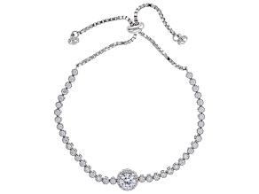 White Cubic Zirconia Rhodium Over Sterling Silver Adjustable Bracelet 3.95ctw