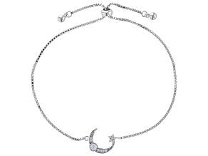White Cubic Zirconia Rhodium Over Sterling Silver Celestial Adjustable Bracelet 0.30ctw