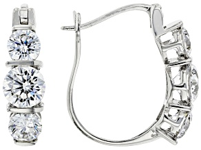 White Cubic Zirconia Platinum Over Sterling Silver Earrings (5.20ctw DEW)