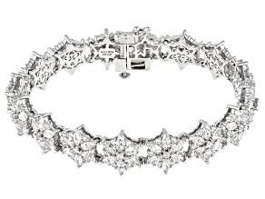 White Cubic Zirconia Rhodium Over Sterling Silver Tennis Bracelet 26.21ctw