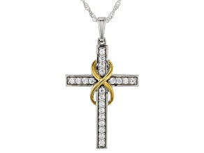 White Cubic Zirconia Rhodium And 18K Yellow Gold Over Silver Cross Pendant With Chain 0.85ctw
