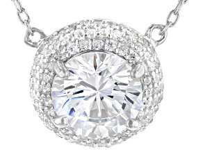 White Cubic Zirconia Rhodium Over Sterling Silver Necklace 4.23ctw