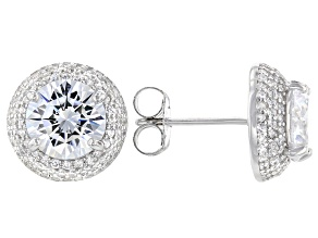 White Cubic Zirconia Rhodium Over Sterling Silver Earrings 8.47ctw
