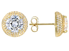 White Cubic Zirconia 18K Yellow Gold Over Sterling Silver Earrings 8.47ctw