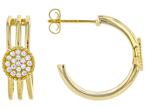 White Cubic Zirconia 18K Yellow Gold Over Sterling Silver Earrings 0.46ctw