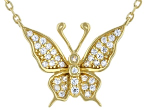 White Cubic Zirconia 18K Yellow Gold Over Sterling Silver Butterfly Necklace 0.34ctw
