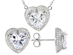 White Cubic Zirconia Rhodium Over Sterling Silver Necklace And Earrings 10.92ctw