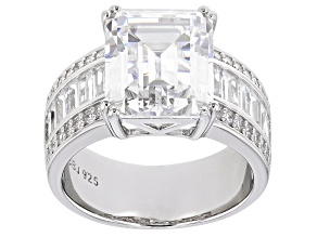 Cubic Zirconia Rhodium Over Sterling Silver Ring (7.89ctw DEW)