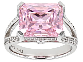Pink and White Cubic Zirconia Rhodium Over Silver Ring (6.35ctw DEW)