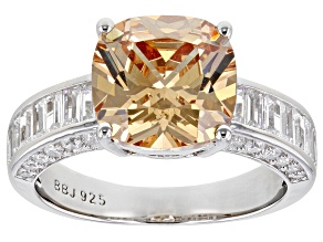 Champagne and White Cubic Zirconia Rhodium Over Silver Ring (4.99ctw DEW)