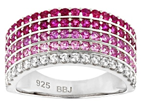 Lab Created Ruby and White Cubic Zirconia Rhodium Over Silver Ring