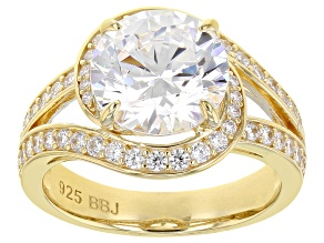 White Cubic Zirconia 18k Yellow Gold Over Silver Ring (4.55ctw DEW)