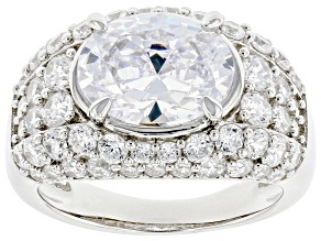 White Cubic Zirconia Rhodium Over Sterling Silver Ring 6.94ctw