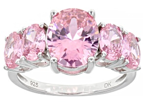 Pink Cubic Zirconia Rhodium Over Silver Ring
