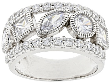 Picture of White Cubic Zirconia Rhodium Over Sterling Silver Ring 4.53ctw