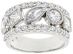 White Cubic Zirconia Rhodium Over Sterling Silver Ring 4.53ctw