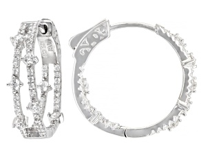 White Cubic Zirconia Rhodium Over Sterling Silver Earrings 1.49ctw