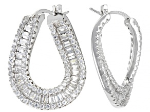 White Cubic Zirconia Rhodium Over Silver Hoop Earrings (3.20ctw DEW)
