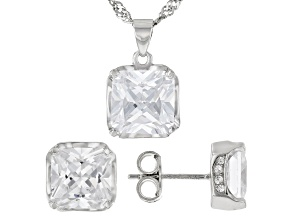 White Cubic Zirconia Rhodium Over Silver Pendant With Chain and Earrings Set