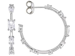 White Cubic Zirconia Platinum Over Silver Hoop Earrings (2.67ctw DEW)