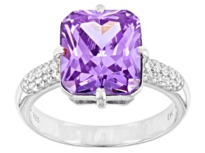 Lavender and White Cubic Zirconia Rhodium Over Silver Ring  (6.03ctw DEW)