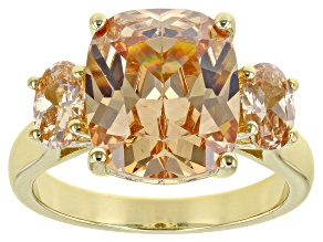 Champagne Cubic Zirconia 18k Yellow Gold Over Silver Ring (6.64ctw DEW)
