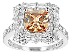 Champagne and White Cubic Zirconia Rhodium Over Silver Ring (2.49ctw DEW)