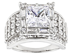 White Cubic Zirconia Platinum Over Sterling Silver Ring 8.60ctw