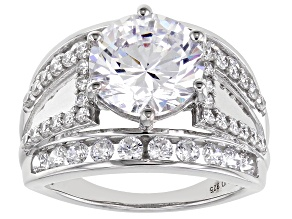 White Cubic Zirconia Platinum Over Sterling Silver Ring 9.14ctw
