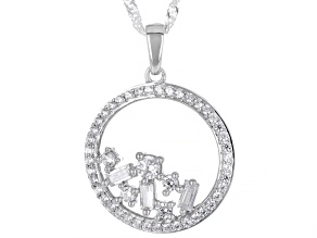 White Cubic Zirconia Rhodium Over Sterling Silver Pendant With Chain 1.29ctw