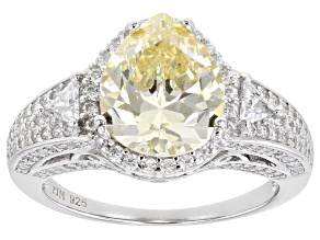 Canary And White Cubic Zirconia Rhodium Over Sterling Silver Ring 7.37ctw