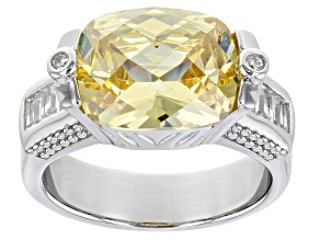 Yellow And White Cubic Zirconia Rhodium Over Sterling Silver Ring 9.91ctw