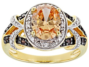 Champagne, Mocha, And White Cubic Zirconia 18k Yellow Gold Over Sterling Silver Ring 3.44ctw