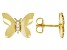 White Cubic Zirconia 18k Yellow Gold Over Sterling Silver Butterfly Earrings 0.09ctw