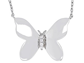 White Cubic Zirconia Rhodium Over Sterling Silver Butterfly Necklace 0.07ctw