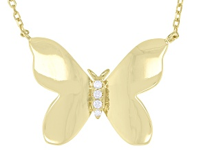 White Cubic Zirconia 18k Yellow Gold Over Sterling Silver Butterfly Necklace 0.07ctw