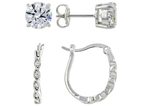 White Cubic Zirconia Rhodium Over Sterling Silver Earring Set 7.22ctw