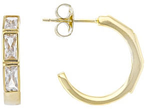 White Cubic Zirconia 18k Yellow Gold Over Sterling Silver Earrings 4.20ctw