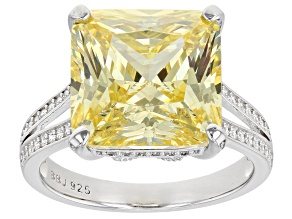 Canary And White Cubic Zirconia Rhodium Over Sterling Silver Ring 15.47ctw
