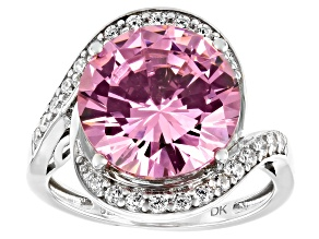 Pink And White Cubic Zirconia Rhodium Over Sterling Silver Ring 9.35ctw