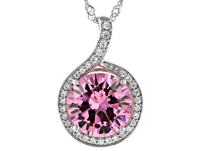 Pink And White Cubic Zirconia Rhodium Over Sterling Silver Pendant With Chain 10.86ctw