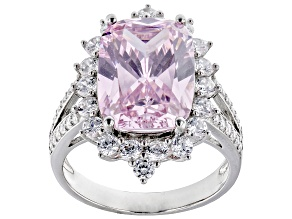 Pink and white cubic zirconia rhodium over sterling silver ring 14.64ctw