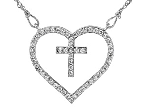 White Cubic Zirconia Rhodium Over Sterling Silver Heart Necklace 0.79ctw