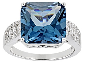 Lab Created Blue Spinel And White Cubic Zirconia Rhodium Over Sterling Silver Ring 9.65ctw