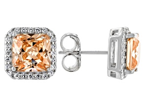 Champagne and White Cubic Zirconia Over Silver Earrings. (4.89ctw DEW)