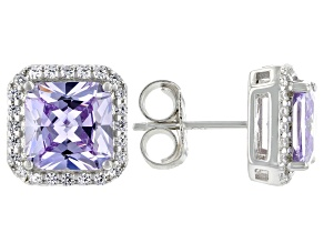 Purple and White Cubic Zirconia Rhodium Over Silver Earrings. (4.89 DEW)