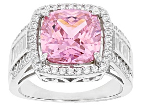 Pink and White Cubic Zirconia Rhodium Over Silver Ring 6.91ctw