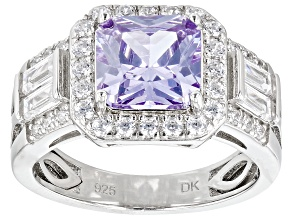 Purple and White Cubic Zirconia Rhodium Over Silver Ring (2.87ctw DEW)