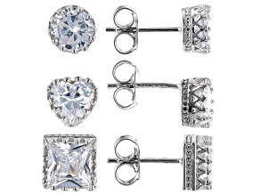 White Cubic Zirconia Rhodium Over Silver Earrings Set of 3. (4.94ctw DEW)